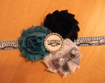 Philadelphia Eagles inspired shabby flower baby/toddler/adult headband