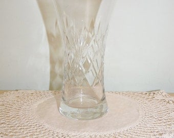 Kleine Crystal Cut glazen vaas, Posy, glaswerk, bloemstuk, schikken, huishoudartikelen, 0412