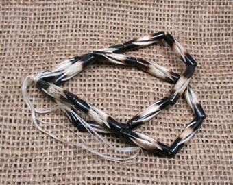 16 Bone Hair Pipe Beads. 1 inch - Item B0684