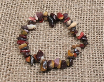 "Mookaite Chip Stretch Bracelet - 6.5"" - Item BR031"
