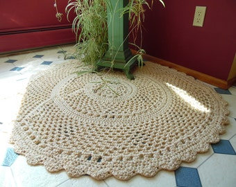 Lacey Throw Rug, Handmade Crochet Rug, Yarn Rug, Cream Handmade Rug, Bedroom Rug, Handmade Throw Rug, House Rug