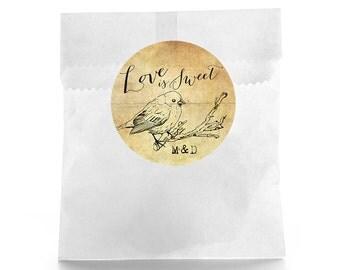 Rustic Wedding Favor Labels - Wedding Favor Labels - Wedding Stickers - Wedding Labels - Favor Box - Love is Sweet - Personalized Favor