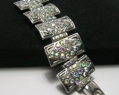 Vintage Silver Tone Bracelet - AB Crystal Rhinestones - Vintage Bracelets - 1960s - Silver Tone Linked Panel Cuff Bracelet