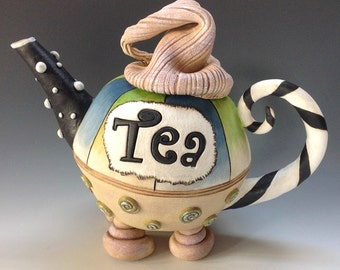 Whimsical Tea Pot, Decorative Ceramic Pottery, Hand Made Sculpture, Mad Hatter Design