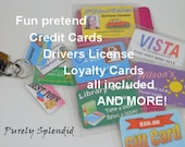 Personalized Pretend Play Credit Card, Library Card, Drivers License, Gift Card, Loyalty Card, dramatic play money, fun store shopping cards