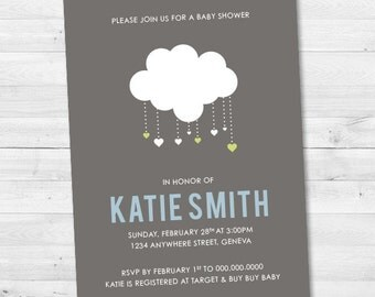 Simple Cloud Baby Shower Invitation