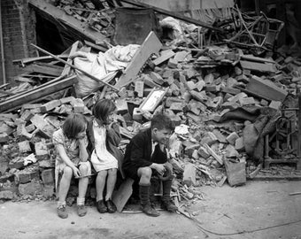 London Blitz, East London,, WWII, Photo Print
