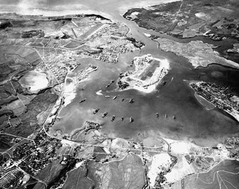 Pearl Harbor Looking South-West in 1941 Hawaii WWII Photo Print