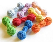 SALE Dumbbells toy / Crochet teether / Crochet toy / Wooden toy