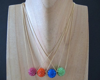 Choice of Bright Floating Glitterball Necklace