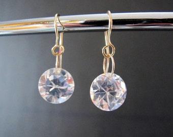 Clear Cubic Zirconia Dangle Earrings
