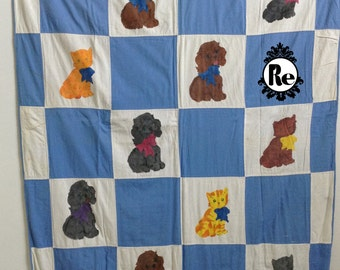 Vintage Handmade Quilt Blue & White Squares with Hand Painted Puppy Dogs and Cats Center Staged Patchwork Quilt No. 14