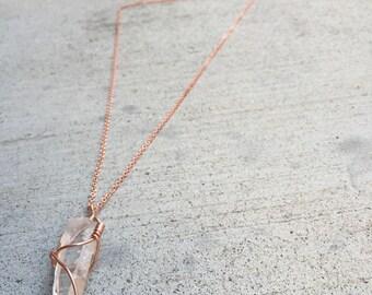 Lemurian Quartz Point Copper Wire Wrapped Necklace