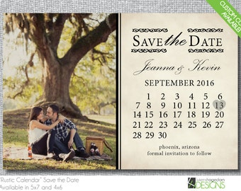 Rustic Save the Date with Calendar