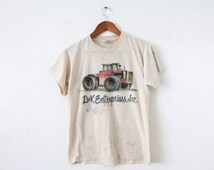 LARGE Vintage 1986 D&K Enterprises Air-Brushed Tractor Soft and Thin Distressed Graphic T-Shirt