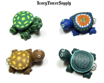 4 Polymer Clay Turtle Pendants, Fimo Beads, Animal Beads, Polymer Clay Beads