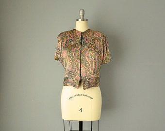 40s Blouse // 1940s Paisley Silk Satin Zip Blouse // M-L