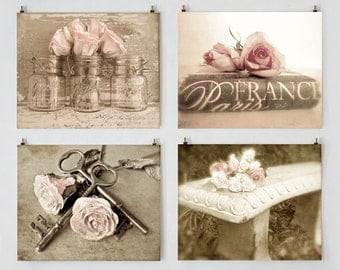 Romantic French Cottage Decor, Shabby Cottage Chic Photo Set, Wall Art Gallery, Sepia Art, Romantic Prints, Pink Rose Photos, Mason Jar Art