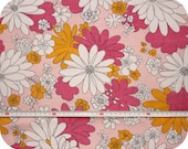 Floral retro vintage fabric - pink, white and yellow