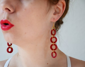 Red circle earrings, Red long earrings, Red leather earring, Red jewelry, Leather jewelry, Gift for her, Under 15, Geometric jewelry