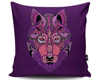 Wolf Pillow, Wolf Cushion, Purple Cushion, Purple Pillow, Wolf Illustration, Wolf Art, Wolf Decoration, Wolf Gift, Faux Suede Cushion