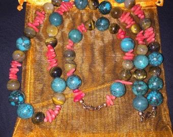 Jewelry Sets-Tigers Eye Jewelry-Coloful Jewelry-SomethingXquisite Jewelry-Handmade Jewelry-Ethnic Jewelry-Beaded Jewelry-Jewelry Gift Set