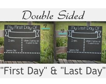 First Day of School, Double Sided, School Chalkboard, 12x12