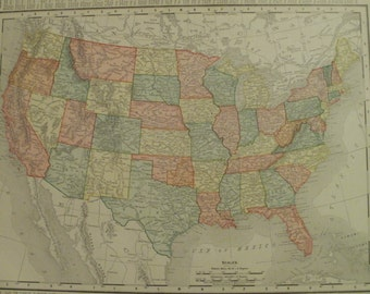 United States Map,Small United States Map,Maine Map,2 Sided,Place on the World Map,1900 9x12 VS17