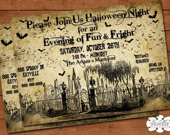 halloween graveyard invitation, handmade digital invite, halloween party vintage invitation, halloween invite - DIY PRINTABLE