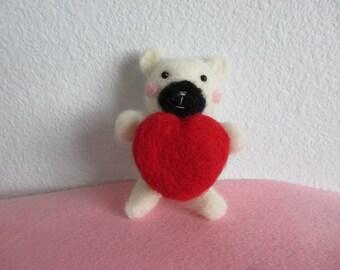 Kawaii Needle Felting Bear..Valentine Love Bear