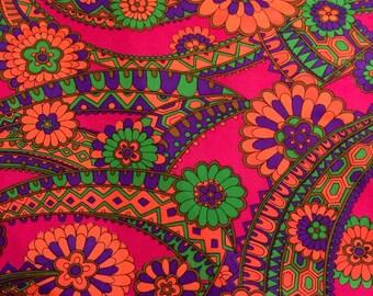 "Groovy Flower Power Dayglo 70's Polyester Fabric Neon Pink, Orange, Green 3.25 yds x 46"" w"