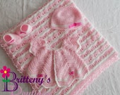 Baby Girl Blanket / Baby Girl Sweater / Crochet Baby Girl Blanket / Crochet Baby Girl Cardigan / Crochet Pink Seashell Princess Set / 0-6 Mo