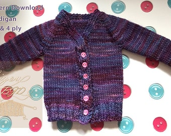 PDF Pattern to download - Knitting pattern of cardigan for MSD Size Doll - 2 & 4 ply