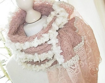 Knit scarf lace top in dusty pink