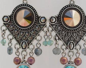 Beautiful bohemian chandelier earrings / swarovski chandelier earrings
