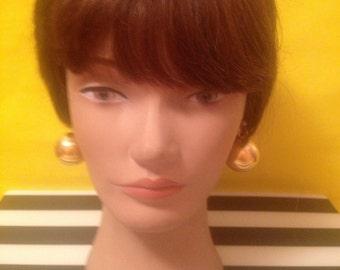 70's  Gold Tone Metal Ball Earrings