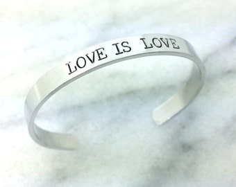 gay pride bracelets, marriage equality, love is love, love wins, lgbt bracelet cuff, stamped bracelet, cuff bracelet, gift under 20