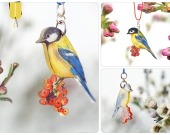 great tit chain, bird necklace, Great tit, bird jewelry, herald of spring, one of a kind