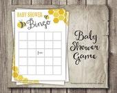 BINGO Baby Shower Game - Bingo - Mama to Bee or Shower Bee Neutral Theme - 5x7 PRINTABLE Shower Bingo for Mom Parents