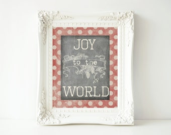 Printable Christmas Sign-8x10-Instant Download-Vintage Inspired-Joy to the World Sign