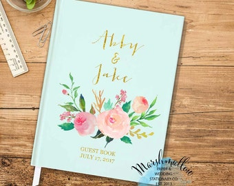 Mint Gold Wedding Guest Book / Spring Guest Book Wedding Sign In / Flower Guestbook / Wedding Keepsake Faux Gold Bridal Gift Guest Book