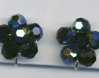 Swarovski Savvy Clip Earrings with Jet Black Crystal Beads New (D)