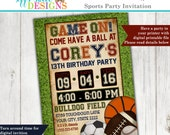 Boys Sports Birthday Party Invitation - Football - Soccer - Basketball - Baseball - Sports Party -  Backyard Birthday