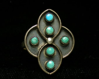 Vintage Old Zuni Pueblo Native American Sterling Silver Turquoise and Ring - 1970s