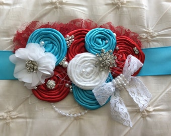 Dr Seuss Inspired- Thing 1 and Thing 2 Maternity Sash- Turquoise and Red