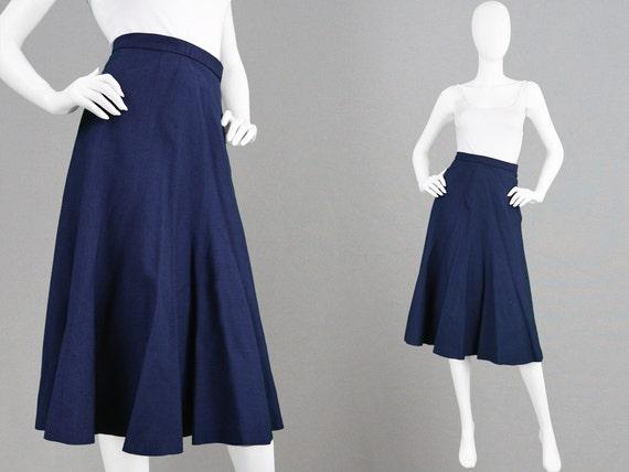 vintage 60s a line skirt navy blue linen skirt inverted pleat