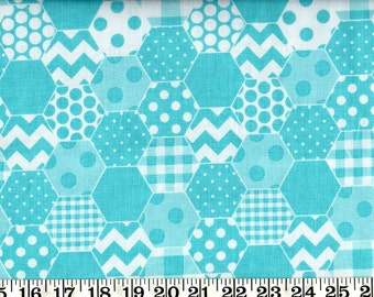 SALE! Riley Blake Cotton Fabric Hexi Aqua By the Yard #560-7