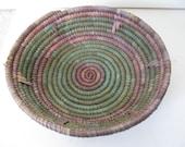 "Vintage Woven Round Ethnic Straw Bowl Basket - Green and Purple 12.5"" Diameter"