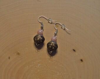 Pink Bronze Silver Beaded Dangle Earrings