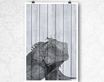 Iguana Modern Decor, Digital Download Wall Art, Child's Room Artwork, Black & White Wild Animal Photo, Prints on Wood, Lizard Artwork, Print